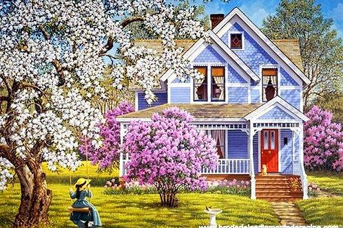 la maison bleue fleurie