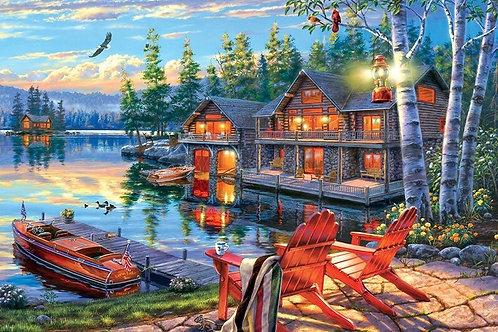 la maison au bord du lac un soir d'été