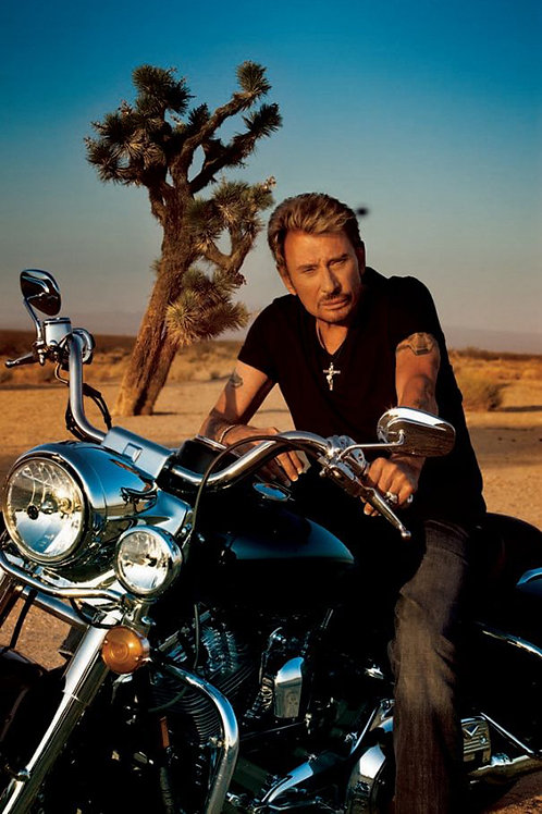 Johnny Hallyday à moto