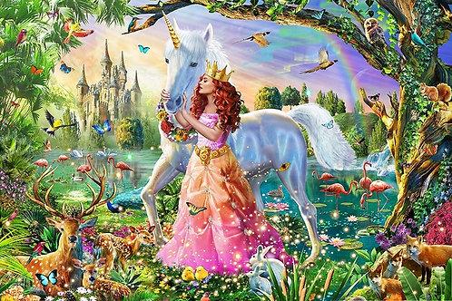 la reine et sa licorne dans le bois