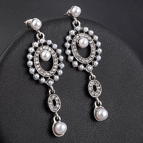 boucles d'oreilles perles et argentée