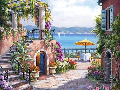 la terrasse sur la mer