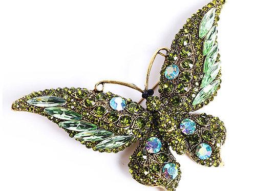 broche strass papillon verte