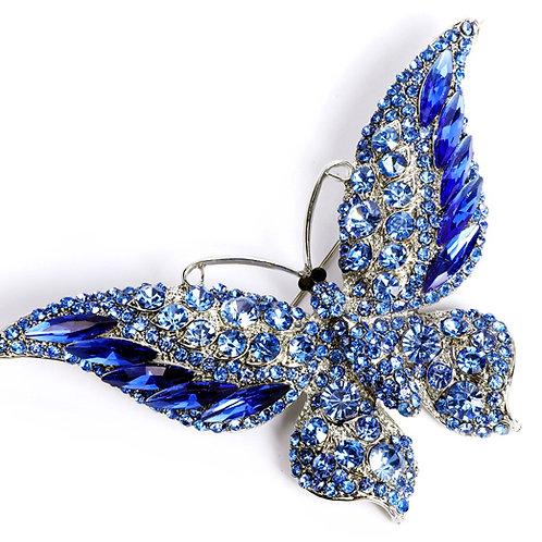 broche strass papillon bleue