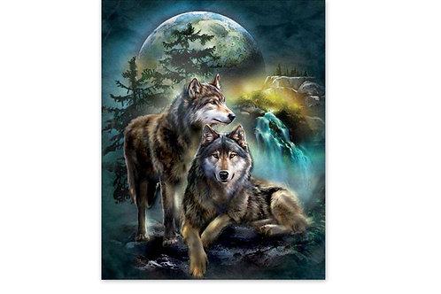 Loups, cascade, lune