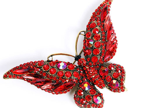 broche papillon strass rouge