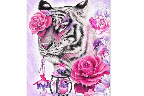 tigre avec roses et oiseau