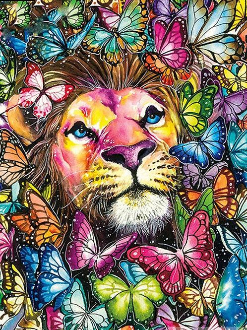 lion et papillons