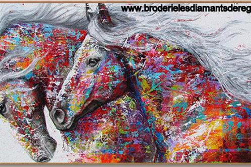La chevauchée des deux chevaux colorés