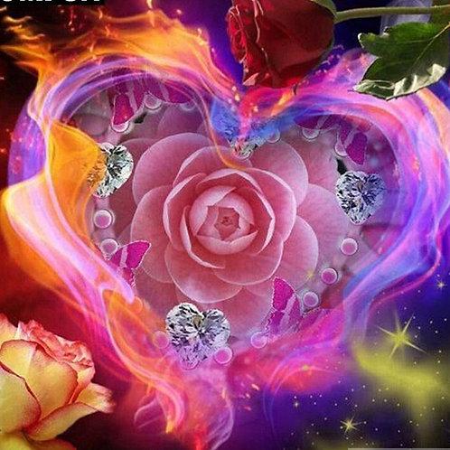 cœur roses diamants