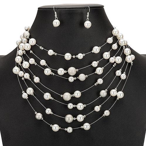 parure de bijoux fantaisies perles et perles argentées