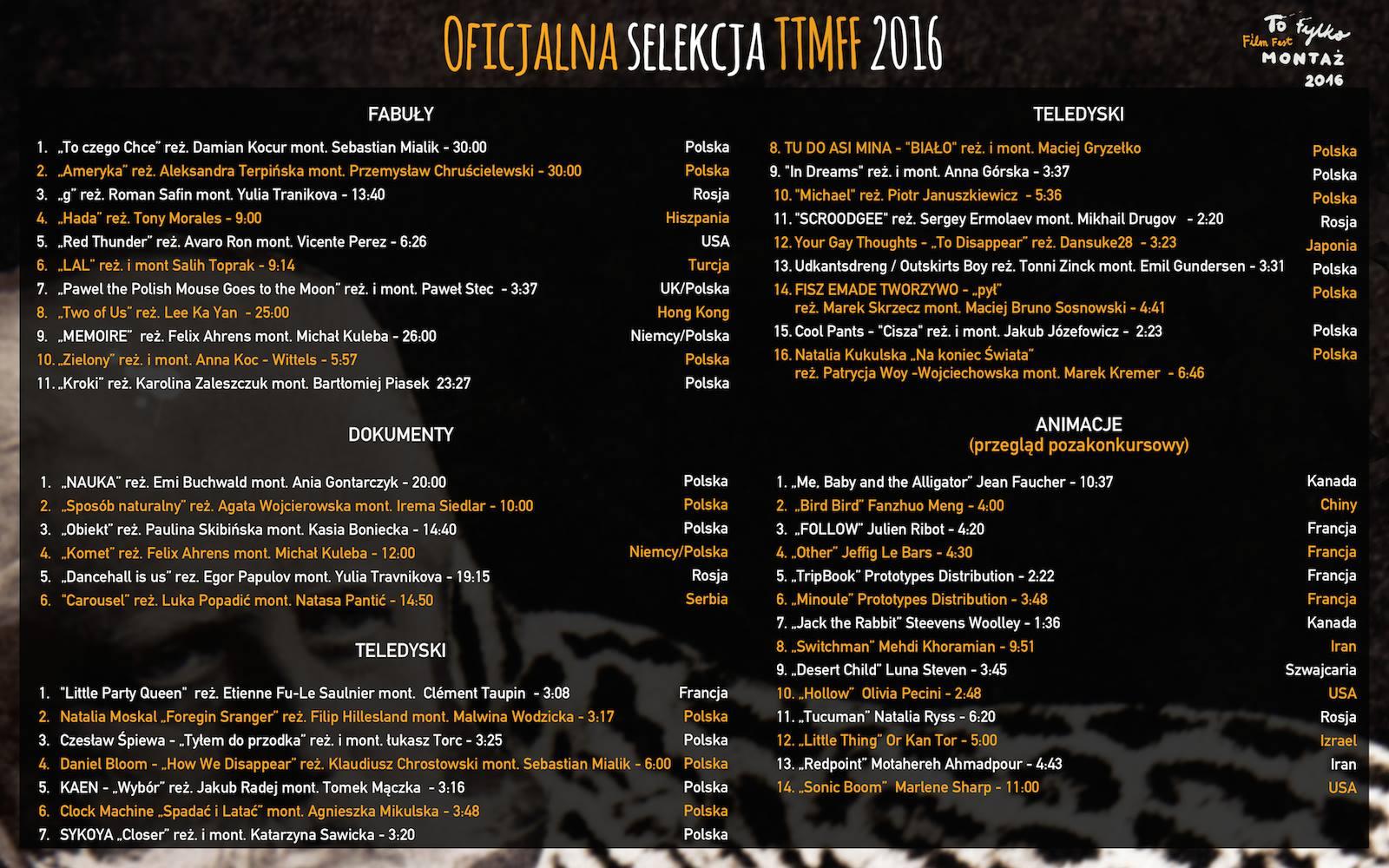 Oficjalna selekcja TTMFF 2016
