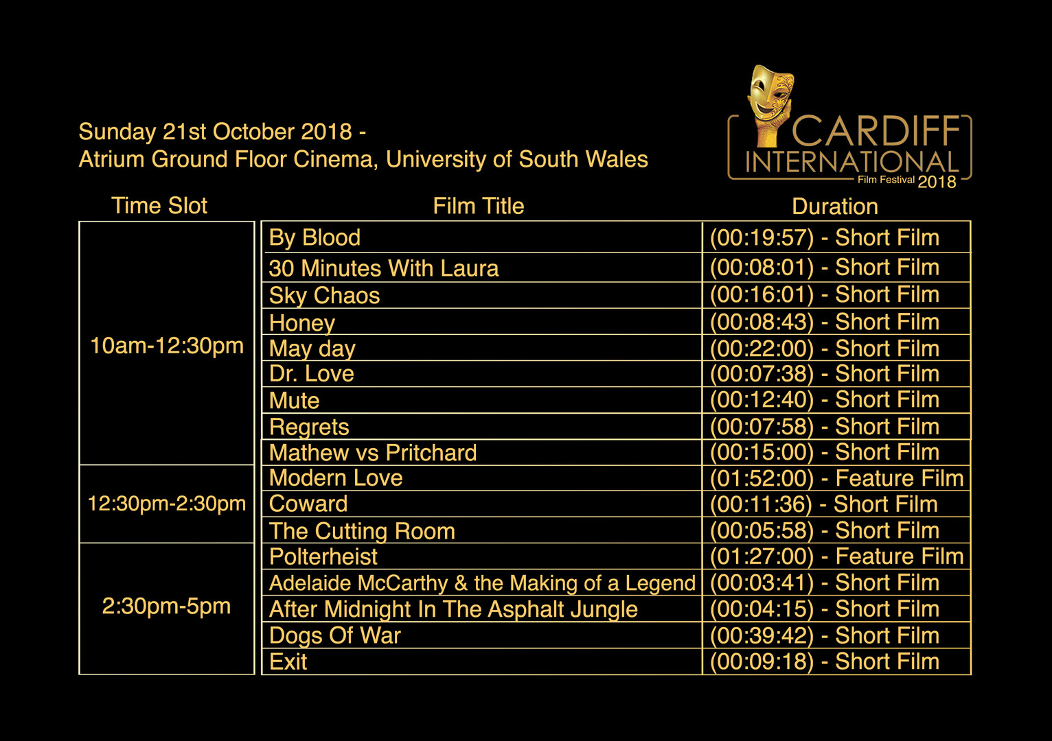 Sunday 21st October - Atrium, Ground Floor