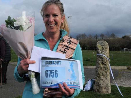 Lanivet Panda Karen Scott completes virtual walk from John O'Groats to Lands End for Charity
