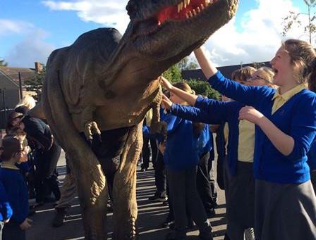 T Rex Dinosaur in School