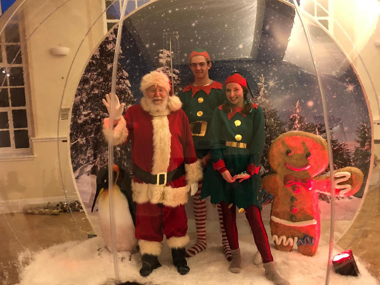 Giant Snow Globe Santa and elves inside