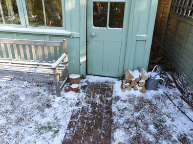 Snow Scene Setting Garden Shed covered i