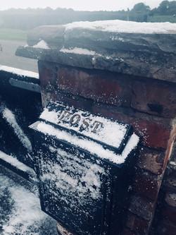 Snow scene setting for film shoot