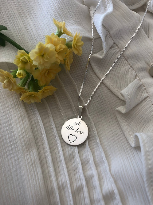 ALT BLIR BRA sølvanheng hjerte