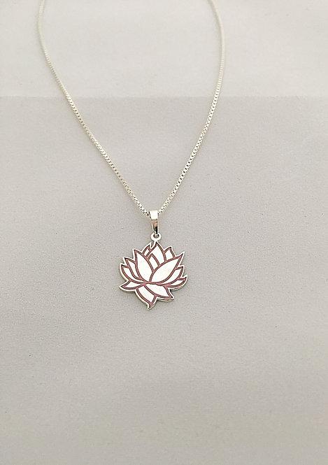 LOTUSFLOWER sølvanheng m/rosa emalje