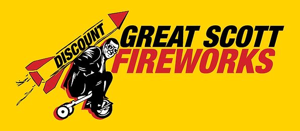 Great Scott Fireworks Logo with social media