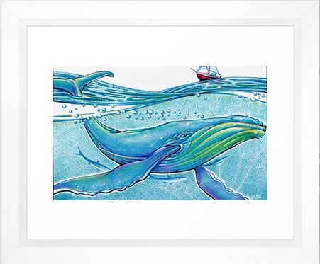 Whale Sail Boat - Original Mixed Media