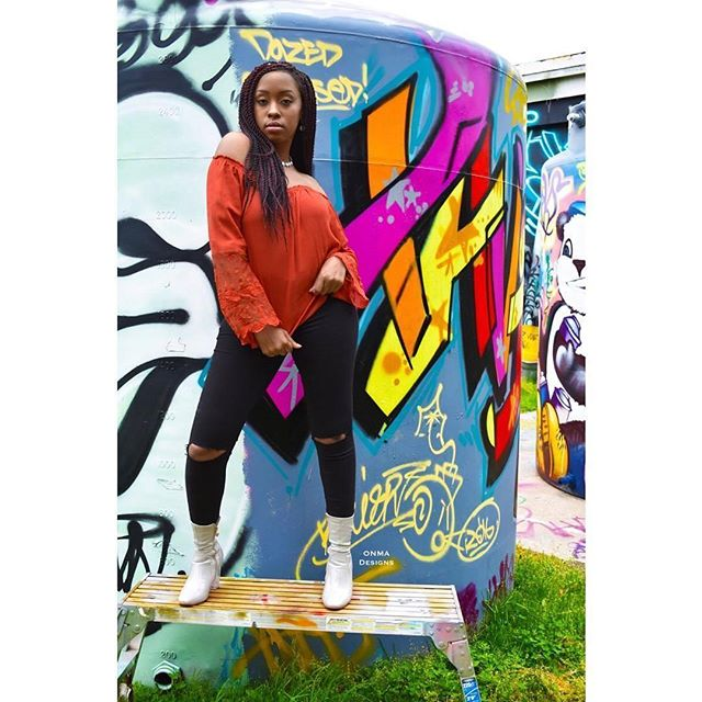 dope artwork goes a long way ✨ _Model_ _cinderellea__📸_onmadesigns__#urban #model #graffiti #jersey