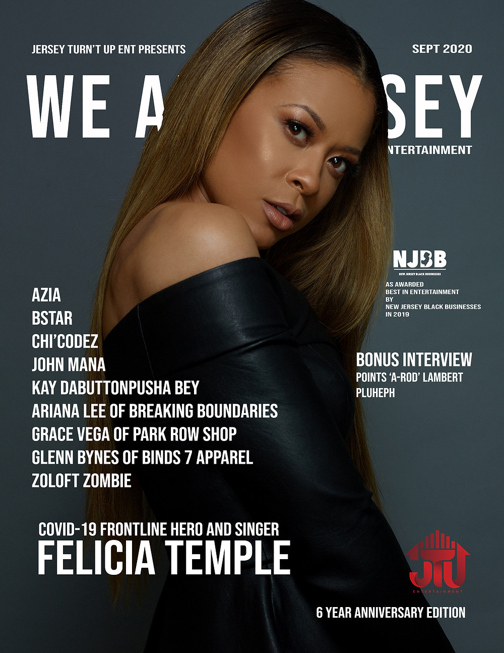 We Are Jersey Magazine September 2020 Cover featuring COVID-19 Frontline Hero and Singer Felicia Temple
