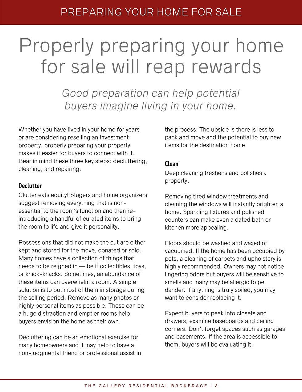 Preparing your Home For Sale will Reap Rewards