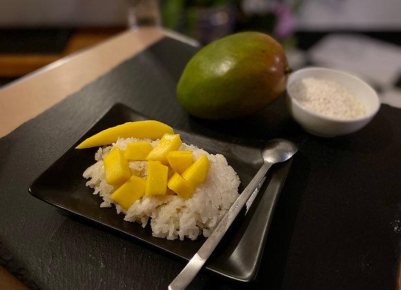 Riz spécial au lait de coco et mangue fraîche