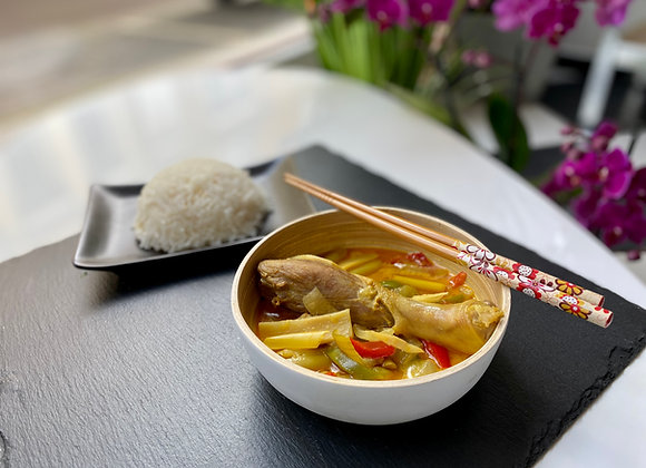 Canard curry rouge citronnelle