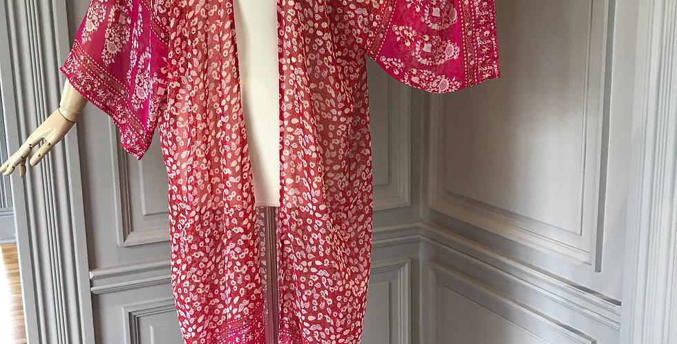 Red Coral Sheer Chiffon Kimono