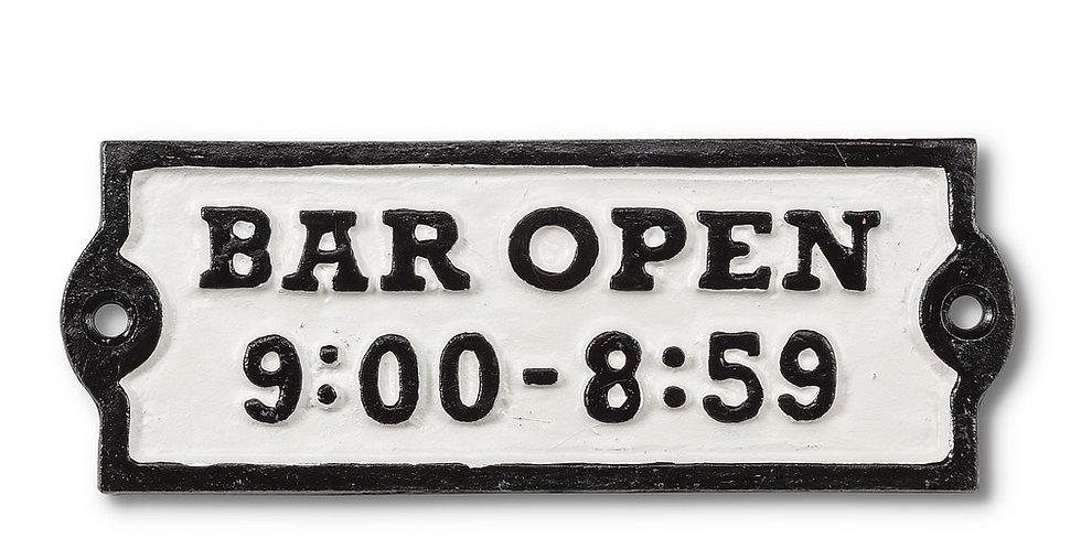 "Rectangle ""Bar Open"" Sign"