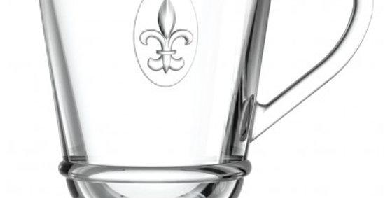 Larochere Glass Fleur de Lys Coffee Mug 9.5oz
