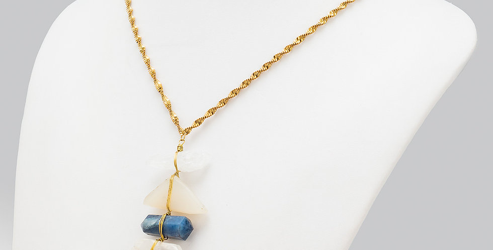 Necklace with Stone and Crystal Pendant