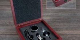 Wood Box W/4 Wine Tools