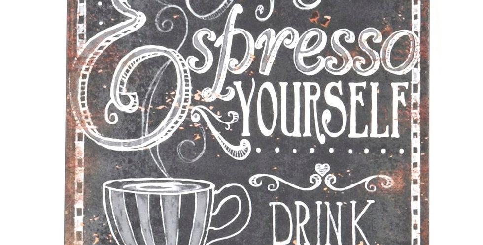 Espresso metal sign