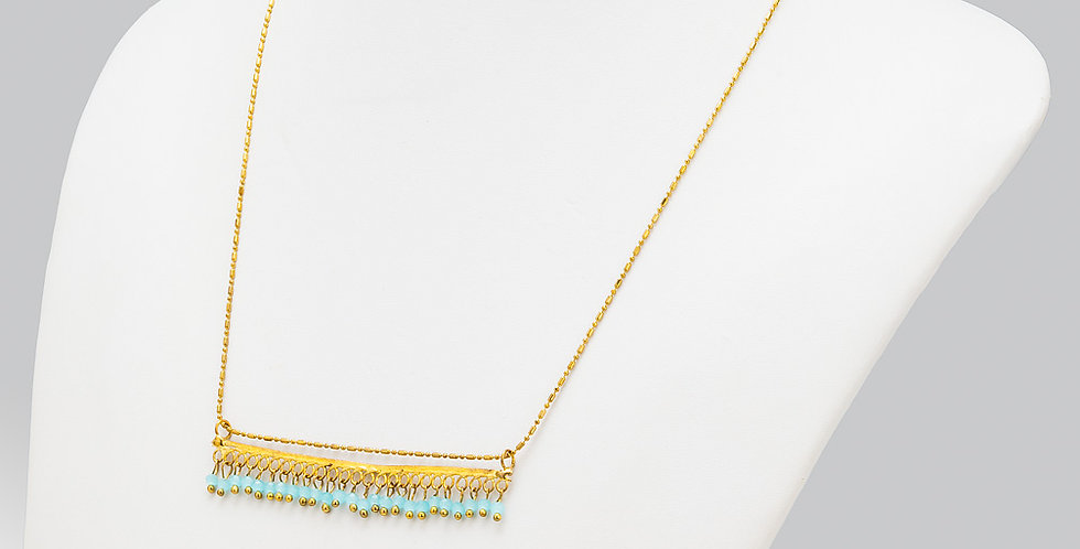 Bar Necklace with Bead Fringe