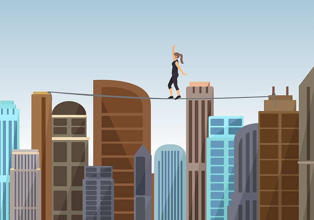 Woman Walking a Tightrope - Designed by www.vecteezy.com