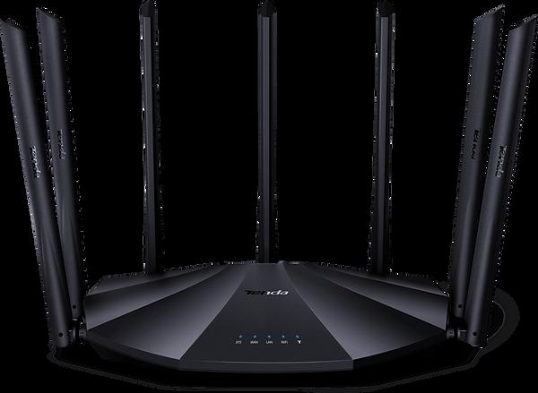 Router Tenda modelo AC23, con 8 antenas, forma de OVNI y en color negro