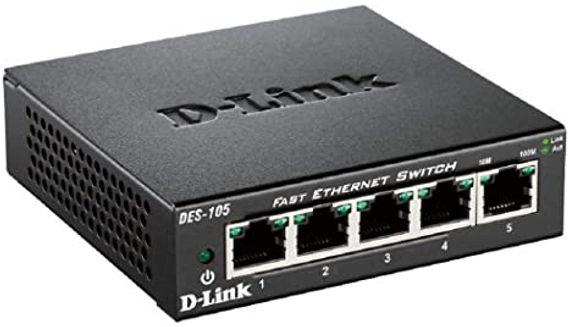 Switch D-link Fast Ethernet de 5 puertos en color negro