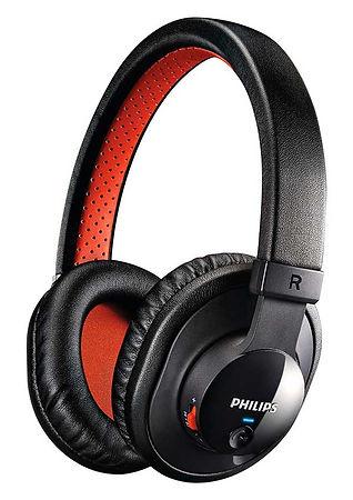 Auricular over-the ear o circumaural cerrado, marca Philips, color negro y rojo