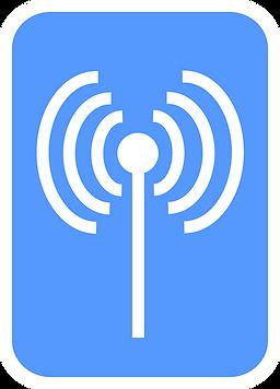 Logo antena wifi, en color blanco y fondo azul