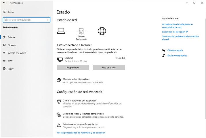 Conexión ethernet Windows 10