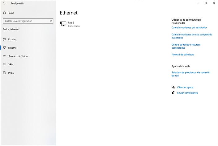Cambiar opciones del adaptador Windows 10