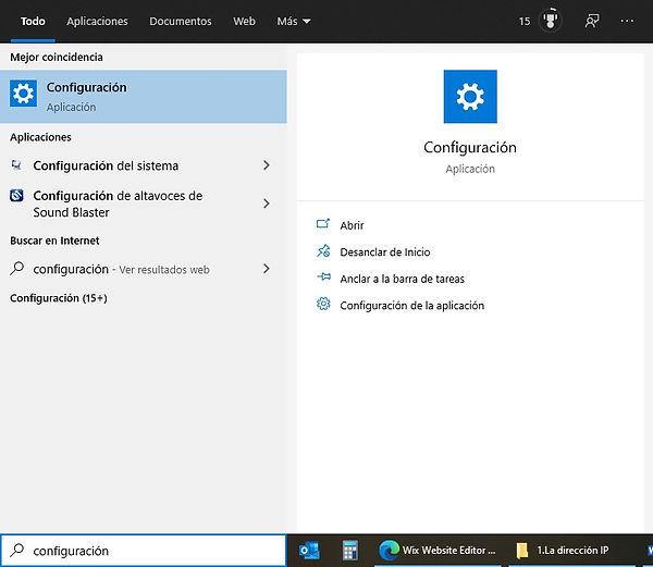 Ventana configuración Windows 10