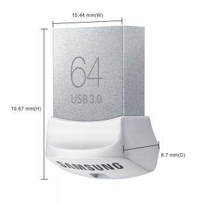 Memoria Samsung FIT USB 3.0 de color blanco y tamaño muy reducido.