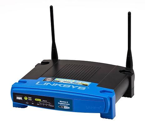 Router Linksys Wireless-G, frontal en azul y cuerpo en negro
