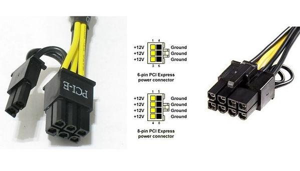 Conectores de 6 y 8 pines para alimentación tarjetas gráficas de PC