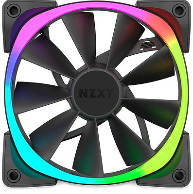 Ventilador para PC, marca NZXT, con luces led de color en la zona exterior